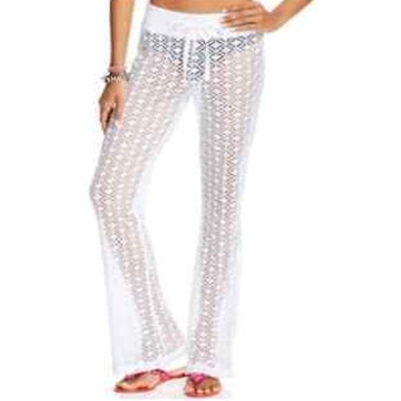 Miken Swim White Crochet Pants Cover Up Size M Poshmark